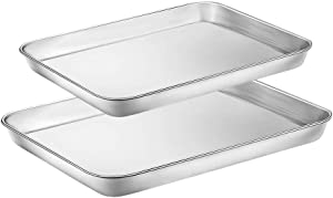 WEZVIX Baking Sheet Set of 2 Tray Cookie Sheet Stainless Steel Toaster Oven Pan Baking Pan 9 & 10 inches, Non Toxic & Healthy, Rust Free & Less Stick, Thick & Sturdy, Easy Clean & Dishwasher Safe