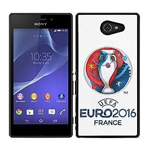 Funda carcasa para Sony Xperia M2 diseño UEFA Euro 2016 borde negro