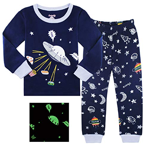 AmberEft 4T Pajamas Boys Clothes Kids PJs Set Toddler Long Sleeve Space -