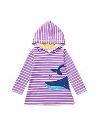 Vinjeely Toddler Girls Long Sleeve Rainbow Dot Shark Striped Hoodied Dress Fall
