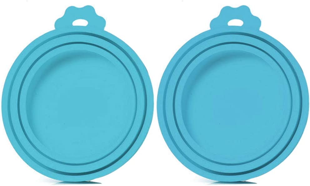 SLSON 2 Pack Pet Food Can Cover Universal Silicone Cat Dog Food Can Lids 1 Fit 3 Standard Size Can Tops