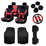 cciyu Red/Black Car Seat Cover W/Belt Pads/Steering Wheel Cover 3Pcs Full Set Black Floor Mats Breathable fit Heavy Duty Vans Trucks