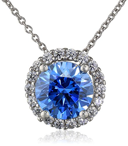 Sterling Silver Swarovski Blue and White Cubic Zirconia P...