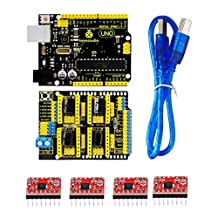 MonkeyJack CNC Shield V3 Expansion Board +4x A4988 Stepstick Driver+UNO R3 for Arduino