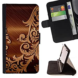 Jordan Colourful Shop - brushed metal floral pattern For Apple Iphone 6 PLUS 5.5 - Leather Case Absorci???¡¯???€????€????????&c