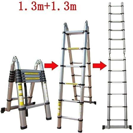 ZDTZ/L Escaleras Escalera Telescópica Espiga Recta Doble con Escalera Interior Escalera Portátil Plegable Escalera Gruesa De Aleación De Aluminio Taburete (Size : 1.3m+1.3m): Amazon.es: Hogar