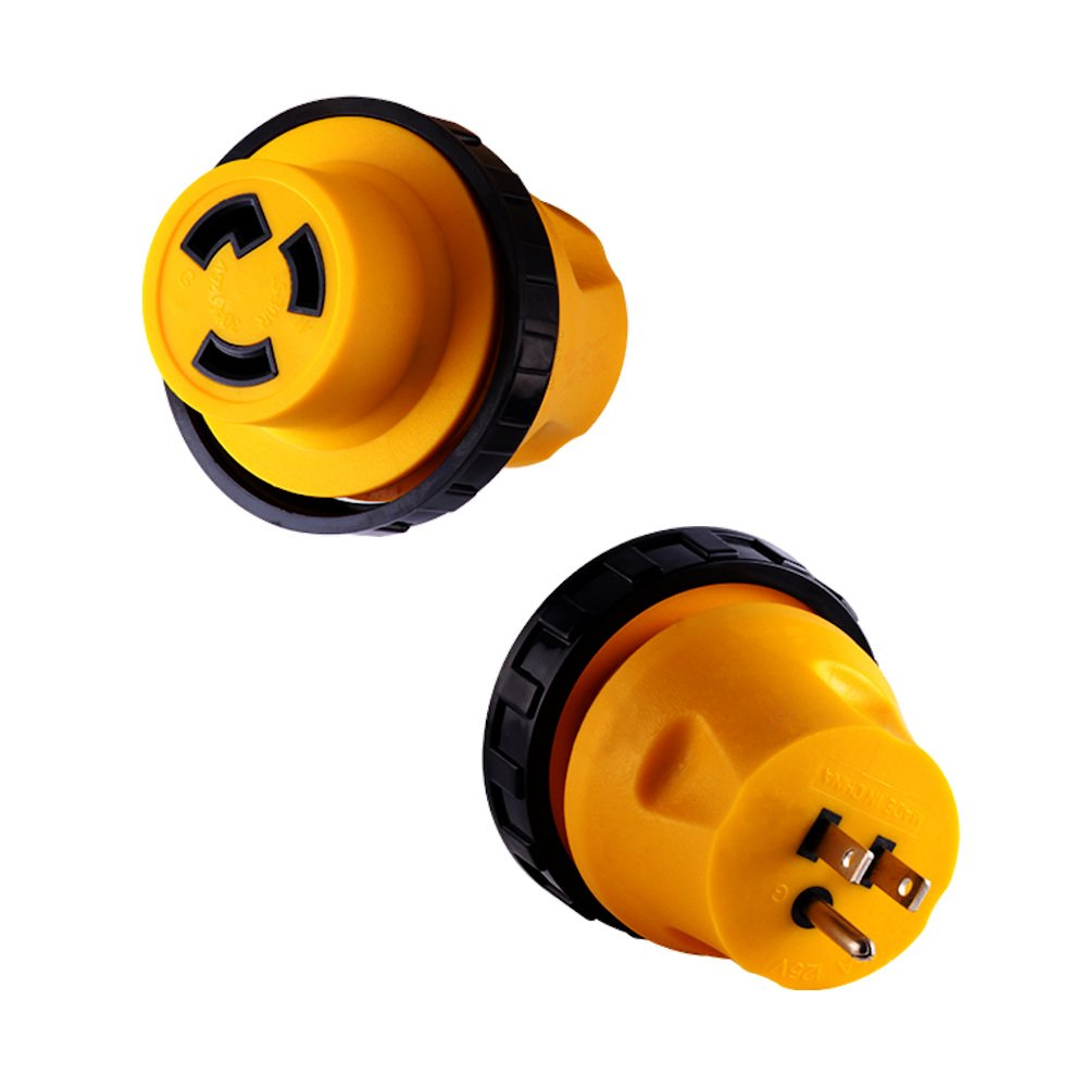 New RV Locking Power Cord Plug Adapter 15 Amp Male to 30 Amp Female Twist Lock