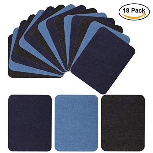 Iron On Denim Patches for Jean Clothing 18 Pieces No-Sew Denim Patches Assorted Cotton Jeans Repair Kit by POAO, 6 Pcs Per Colors, 3 Assorted Colors, 5 x 3 3/4 Inch
