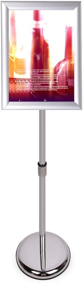 "HAITIAN Sign Holder Poster Stand with Adjustable Height from 40"" to 58"", Round Metal Base, Sign Frame Revolvable to Either Horizontal or Vertical View Display, for 11 X 17 Inch Poster - Silver"