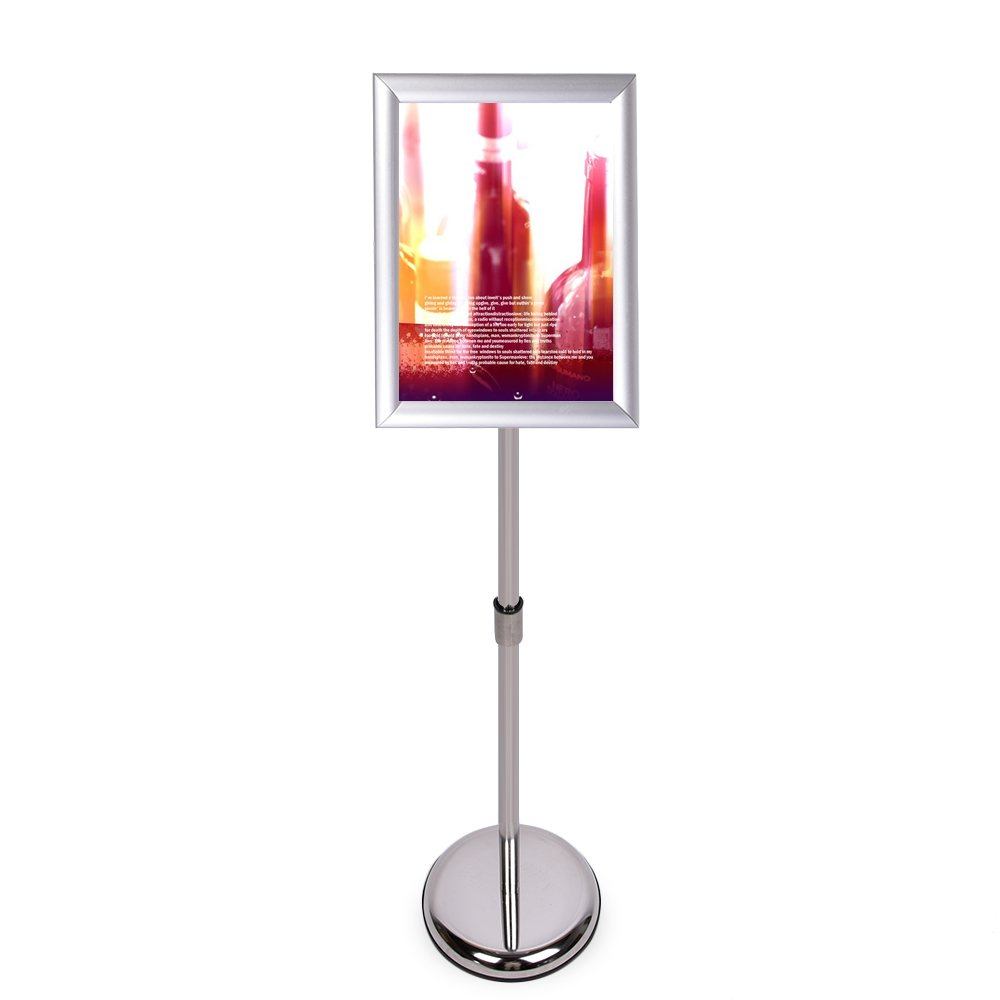HAITIAN Sign Holder Poster Stand with Adjustable Height from 40'' to 58'', Round Metal Base, Sign Frame Revolvable To Either Horizontal or Vertical View Display, for 11 X 17 Inch Poster - Silver