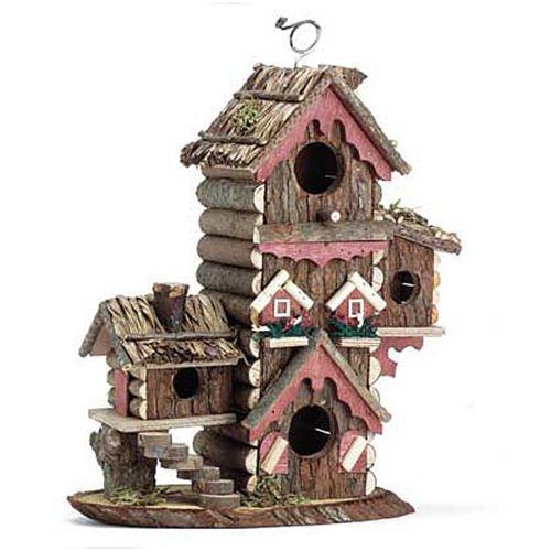 BIRDHOUSE: Gingerbread Style Wood Condo Multilevel Bird H...