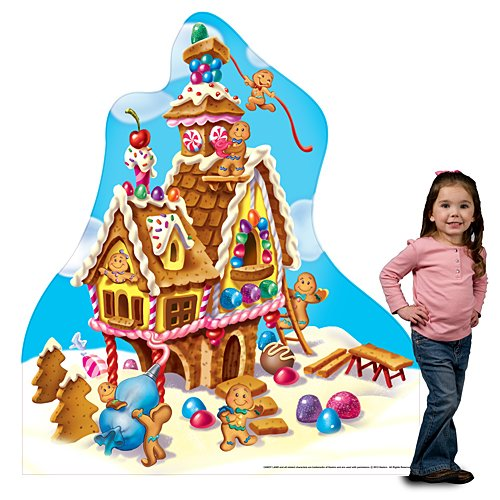 5 ft. 5 in. Candy Land Gingerbread House Standee Standup Photo Booth Prop Background Backdrop Party Decoration Decor Scene Setter Cardboard Cutout - Gingerbread Birthday Party