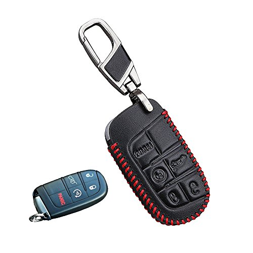 Genuine Leather fob key cover for Jeep fiat Accessories fit Grand Cherokee Compass Renegade Wrangler Patriot key chain case holder shell bag (5buttons)