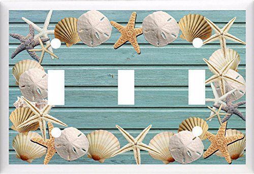 SEASHELLS ON BEACH BLUE WOOD NYLON LIGHT SWITCH COVER PLATE OR OUTLET V803 (3x Toggle)