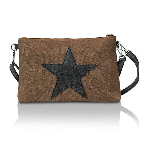 3edd602e19124 Glamexx24 Damen Clutches Tasche Handtaschen Schultertasche Umhängetasche  mit Stern Muster Tragetasche TE201615 3a1 Braun LDwiTYcsOD