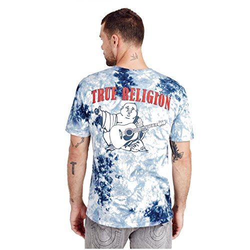 (True Religion Men's Buddha Logo Short Sleeve Tee, Ocean Waves, XXL )