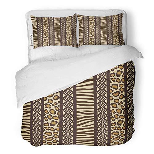 (Tarolo Bedding Duvet Cover Set Blue Pattern African Wild Animals Skins Red Safari Zebra Africa Leopard 3 Piece King 104
