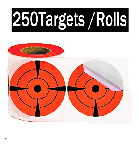 Target Pasters 3 Inch 250 pcs Round Adhesive Shooting Targets-Target Dots - Fluorescent Red and Black (Fluorescent Red Label)