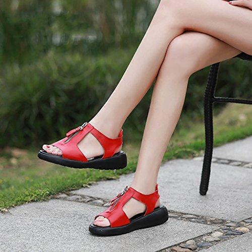 PENGFEI Chanclas de playa para mujer Zapatillas de verano Sandalias de compras Mujer Mujeres embarazadas Ocio Sandalias planas antideslizantes Negro, gris, rojo y blanco Cómodo y transpirable ( Color  Rojo