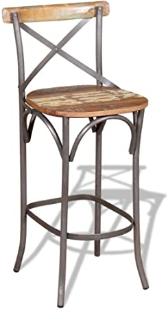 VidaXL Chaise de Bar en Bois Massif 45 x 45 x 110 cm: Amazon