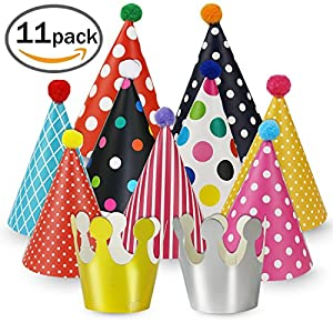 Party Hats 11 Pack Fun Cone Party Hats for Kids or Adults By Cefanty