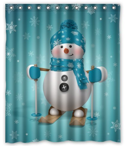 Unique Custom Cute Skating Snowman Waterproof Polyester fabric Shower Curtain 60