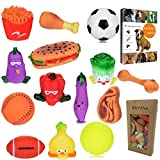 Savena Super Squeaky Dog Toy Pack -New Upgrade Made by Non-Toxic Odorless Environmental Material No-Stuffing Bite Resistant Ball Vegetable Food Types Colors, 14-Pack, Raising Dog EBook Included