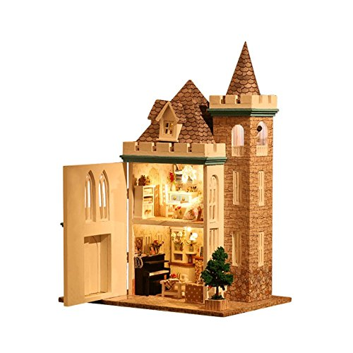 Rylai 3D Puzzles Miniature Dollhouse DIY Kit Moonlight Cast Series Accessories Dolls Houses with Furniture LED Music Box Light