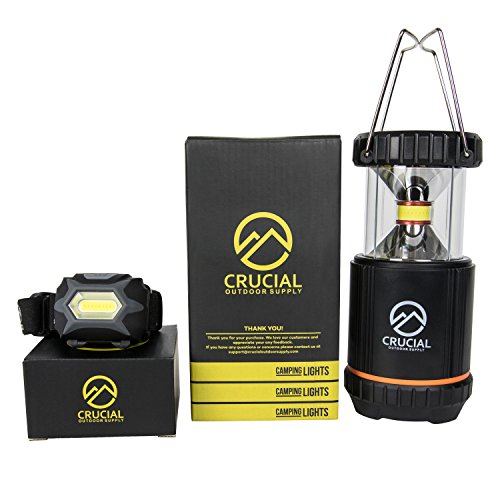 LED Camping Lantern with Powerful Patented CoB Lamp and Bonus Headlamp- Survival Kit Gear for Hurricanes and Emergencies. Working Light, Reading Light, and Great for all Outdoor Activities by Crucial Outdoor Supply