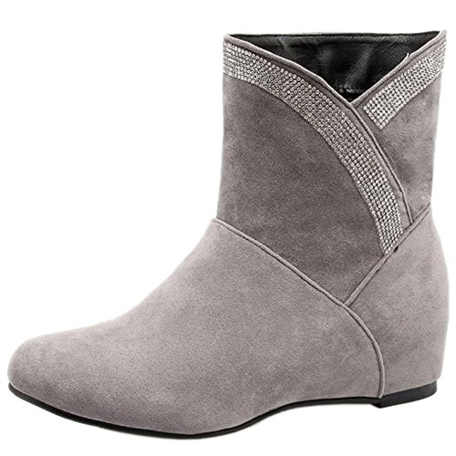 Boots Increasing KemeKiss Grey Women Short Heel Casual Pull On Low Height 234 gxqtwxz