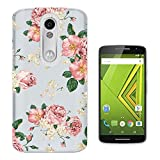 C0786 - Beautiful Shabby Chic Baby Pink Flowers Floral Design Motorola Moto X Play Fashion Trend CASE Gel Rubber Silicone All Edges Protection Case Cover