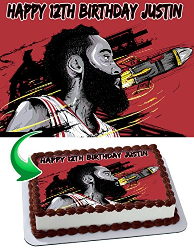 James Harden Houston Rockets Personalized Cake Toppers Icing Sugar Paper A4 Sheet Edible Frosting Photo Birthday Cake Topper 1/4 ~ Best Quality Edible Cake -