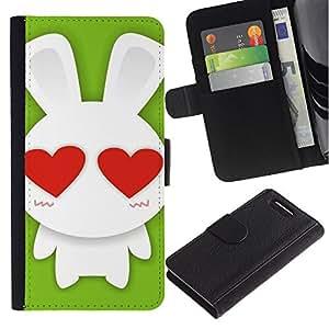 KingStore / Leather Etui en cuir / Sony Xperia Z1 Compact D5503 / Amor lindo del conejo de conejito