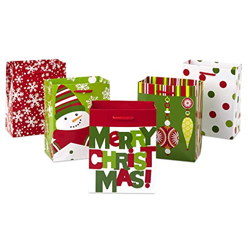 Hallmark 6″ Small Christmas Gift Bag Assortment (Pack of 5: Polka Dots, Snowman, Ornaments, Snowflakes, Merry Christmas) for Holiday Gifts, Treats, Party Favors