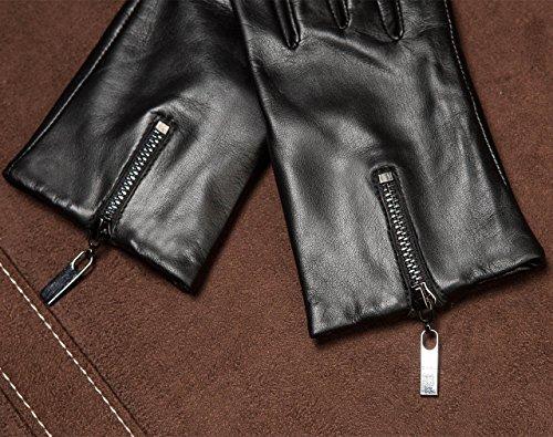 Women's Black Touchscreen Lambskin Warm Lined Leather Driving Gloves Winter Zipper