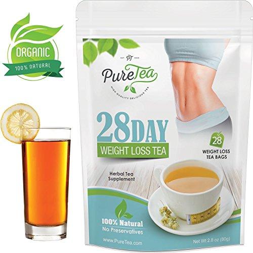 PureTea Weight Loss Tea, 28 Day Detox Tea, Teatox, Advanced Antioxidant & Green Tea for Weight Loss for Women & Men, Appetite Suppression Herbal Supplement & Cleanse. Vegan, Gluten-Free - 28 Tea Bags
