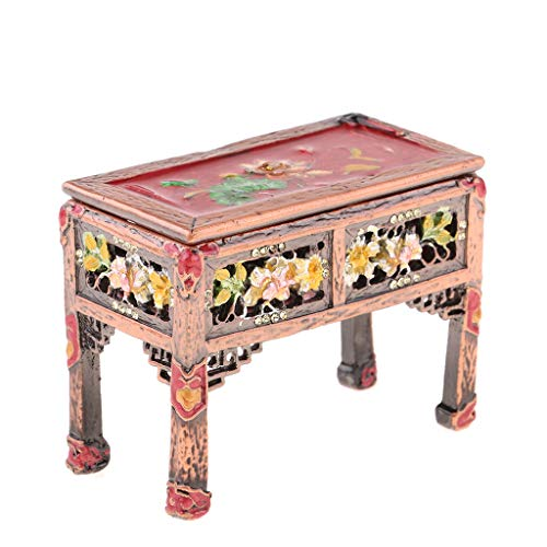 Flameer 1:12 Scale Dollhouse Miniature Vintage End Table, Hand-Painted Living Room Metal Furniture, Also a Jewelry ()