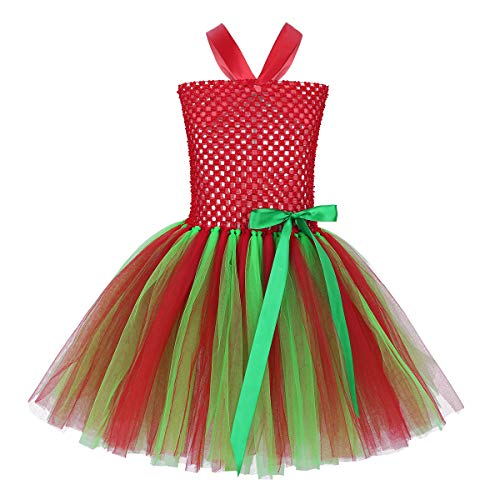ACSUSS Toddler Girls Princess Sleeveless Halter Elastic Bodice Tutu Dress Santa Elf Costumes Red 6-7 -