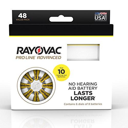 Rayovac Proline Advanced Mercury-Free Hearing Aid Batteries 48/Box Size 10 by Rayovac Proline
