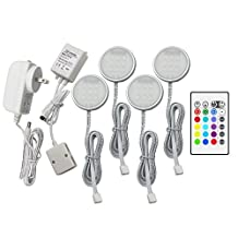 RingColor Lighting RGB LED Under Cabinet Lighting Closet Puck lights Color Changing for Kitchen Shelf Decoration, 20 Colors, Dimmable Remote Control, 7.5 Watts, 4PCS