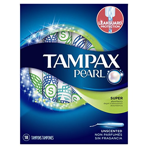 Tampax Pearl Plastic Tampons, Super Absorbency, Unscented, 18 Count (Packaging May Vary) (Packaging May Vary)