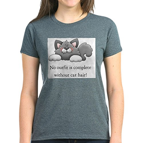 CafePress No Outfit is Complete Without Cat Hair! T-Shirt - Womens Cotton T-Shirt -