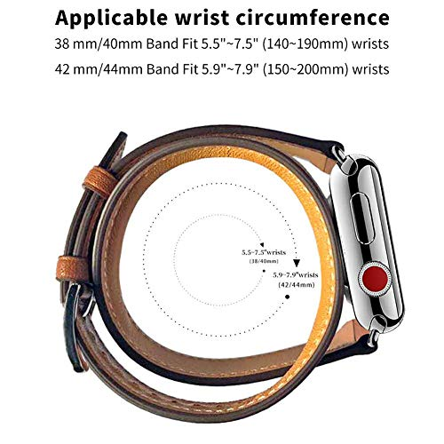 WFEAGL Compatible Watch Band 38mm 40mm 42mm 44mm, Top Grain Leather Double Tour Band for Watch Series 5,Series 4,Series 3,Series 2,Series 1,Sport (Darkgray Band+Rosegold Adapter, 38mm 40mm)