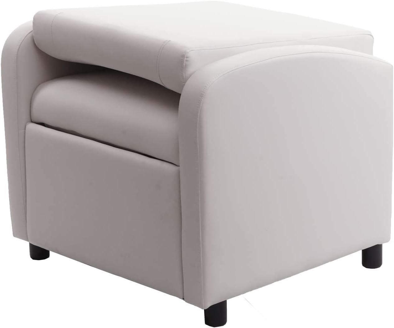 Mendler Poltrona Relax TV HWC-H18 Regolabile Ecopelle 75x70x99cm Bianco