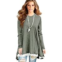 [Patrocinado] Sunfung Women's Lace Long Sleeve Tunic Tops Shirt Clothing Scoop Neck Womens Plus Size Tunic Blouses Tops