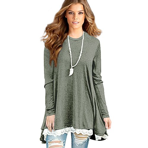 Sunfung Women's Lace Long Sleeve Tunic Tops Shirt Clothing Scoop Neck Womens Plus Size Tunic Blouses Tops (Medium/US 8-10, Green)