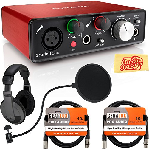 Focusrite Scarlett Solo USB Audio Interface Bundle with Headphones, Pop Filter, Gearlux XLR Cable, Instrument Cable, and Austin Bazaar Polishing Cloth