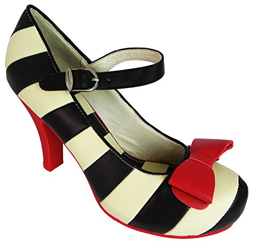 Angie Black and Striped White Lola Ramona 38 Heels RPqwZ7