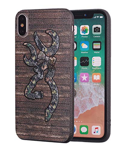 iPhone Xs Max Case,Browning Camo Deer Hunter with Bow Design Slim Anti-Scratch Leather Grain Rubber Protective Case for Apple iPhone Xs Max (2018) 6.5 inch ()