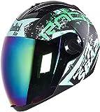 Steelbird SBA-2 Race Full Face Helmet in Matt Finish With Chrome Visor (Large 600 MM, Matt Black/Green)